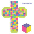 Box Template With Puzzle Pattern Stock Images - 47738814
