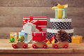 Christmas Holiday Concept With Gift Boxes On Toy Cars Royalty Free Stock Photo - 47742535