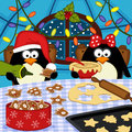 Penguins Bake Christmas Cookies Royalty Free Stock Images - 47748659