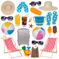 Summer Items Collection Isolated On White Royalty Free Stock Image - 47750006