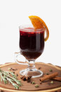 Traditional Winter Hot Alcohol Drinks Mulled Wine With Orange, S Royalty Free Stock Photography - 47750547