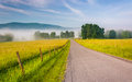 Farm Fields Along A Country Road On A Foggy Morning In The Potom Royalty Free Stock Image - 47756356