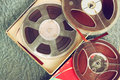 Top View Of Old Sound Recording Tape, Reel To Reel Type And Box. Stock Photography - 47758652
