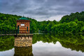 Storm Clouds Over Lake Antietam, Near Reading, Pennsylvania. Stock Image - 47762211