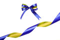 Blue-yellow Fabric Ribbon And Bow. Isolated On White Background Stock Photos - 47766603