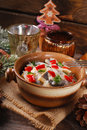 Herring Salad For Christmas On Wooden Table Royalty Free Stock Photography - 47769897