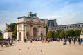 Tourists Walk Near The Triumphal Arch. Paris, France Royalty Free Stock Photography - 47776107