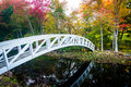 Autumn Color And Walking Bridge Over A Pond In Somesville, Maine Stock Photos - 47777693