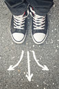Making Decisions. Male Feet From Above. Royalty Free Stock Photography - 47778817