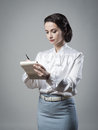 Attractive Vintage Secretary Taking Notes Royalty Free Stock Images - 47781099