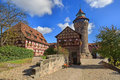 Nuremberg Castle (Sinwell Tower) With Blue Sky And Clouds Royalty Free Stock Photo - 47781525