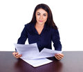 Portrait Of A Cheerful Business Woman Sitting On Her Desk And Sign Up Contract On White Background Royalty Free Stock Photo - 47783945