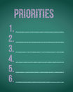 Priorities Chalkboard List Illustration Royalty Free Stock Photography - 47792487