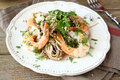 Soba With Shrimp And Greens Stock Images - 47795124