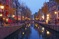 Red Light District In Amsterdam Netherlands At Night Royalty Free Stock Images - 47811499