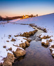 Stream And Barn In A Snow-covered Farm Field In Eastern York Cou Stock Image - 47850631