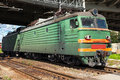 Green Modern Russian Locomotive With Red Stripes On Cabin Royalty Free Stock Images - 47862369