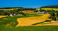 View Of Rolling Hills And Farm Fields In Rural York County, Penn Royalty Free Stock Photo - 47864755