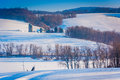 View Of Snow Covered Farm Fields And Houses In Rural York County Royalty Free Stock Photo - 47865325