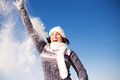 Happy Young Woman Have Fun And Enjoy Fresh Snow Royalty Free Stock Photography - 47866157