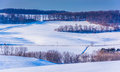 View Of Snow-covered Rolling Hills In Rural York County, Pennsyl Stock Photo - 47866400