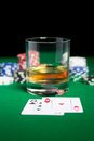Close Up Of Chips, Cards And Whisky Glass On Table Royalty Free Stock Photos - 47874018