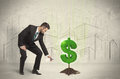 Business Man Poring Water On Dollar Tree Sign On City Background Royalty Free Stock Photo - 47885825
