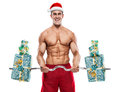 Muscular Santa Claus Doing Exercises With Gifts Over White Backg Stock Photography - 47889742