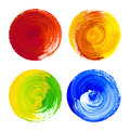 Rounded Watercolor Design Elements Hand Drawn On Canvas Stock Images - 47894834