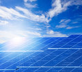 Sun Light And Solar Cell Panels  Against Beautiful Clear Blue Sk Stock Photography - 47898932