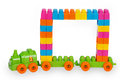 Train Of Colorful Childrens Building Bricks With Frame Stock Photo - 47903590