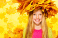 Beauty Portrait Of Blond Girl In Maple Wreath Stock Image - 47926331