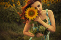 Brunette Caucasian Woman In Blue Dress At The Park In Flowers On A Summer Sunset Holding Sunflowers Royalty Free Stock Photo - 47951405
