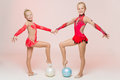 Two Cute Artistic Gymnasts Stock Image - 47954501