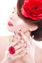 Brunette Woman With Poppy Flower In Her Hair, Poppy Ring And Creative Nails, Closed Eyes Royalty Free Stock Photos - 47957208