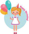 Girl With Balloons Birthday Stock Photography - 47968472