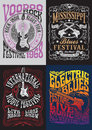 Vintage Rock Poster T-shirt Design Set Stock Photo - 47977540