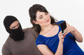 Masked Male Thief Robbing Beautiful Young Girl Royalty Free Stock Image - 47979076