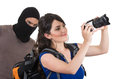 Masked Male Thief Robbing Beautiful Young Girl Stock Photography - 47979742