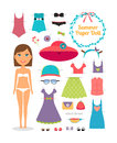 Summer Paper Doll. Girl With Dress And Hat Stock Photo - 47983810