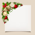 Christmas Card With Bells, Holly, Balls And Poinsettia. Vector Eps-10. Royalty Free Stock Photos - 47995428