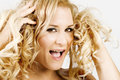 Blond Female Having A Bad Hair Day Royalty Free Stock Image - 4808646