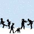 Children Playing In The Snow Royalty Free Stock Photo - 48000195