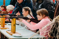 Unrecognizable Belarusian Secondary School Pupils Girls Shooting Royalty Free Stock Photo - 48002495