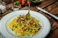 Homemade Pasta With Roasted Black Forest Ham Stock Photo - 48007190