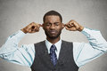 Man Closing Ears Avoiding Unpleasant Conversation, Situation Royalty Free Stock Images - 48014319