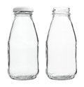Glass Milk Bottles With/without Cap Isolated On White Background Royalty Free Stock Photos - 48021718