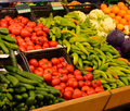 Fruit Market With Various Fresh Fruits And Vegetables. Supermarket Royalty Free Stock Photography - 48021967