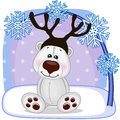 Polar Bear With Antlers Royalty Free Stock Photography - 48025317