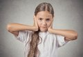 Teenager Girl Covering Ears With Hands Royalty Free Stock Photo - 48052835